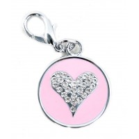 Starry Eyed Heart dog or cat Tag in Pink